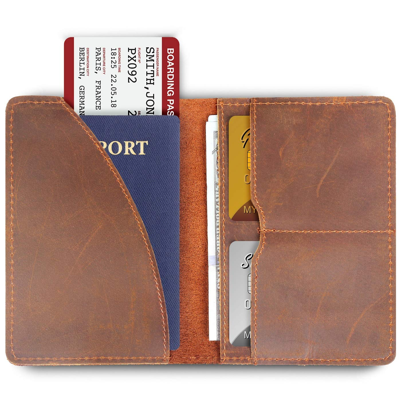 Passport Cover Passport Holder for Men Sleeve Wallet Leather Travel ID Card Case