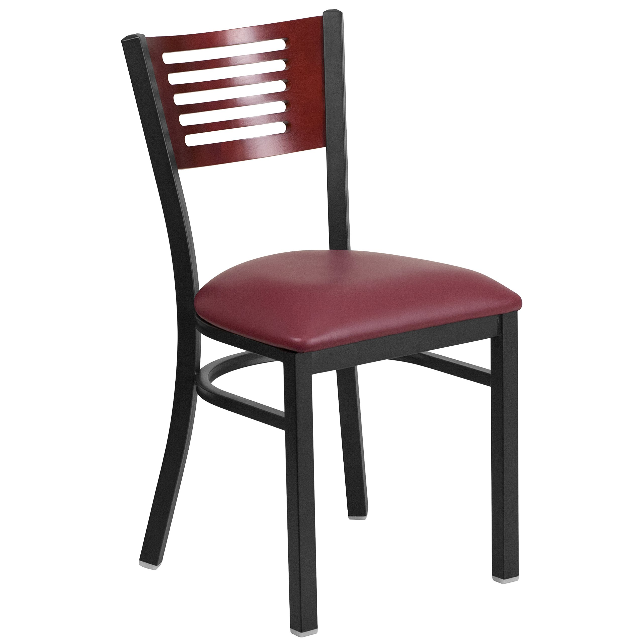 Flash Furniture HERCULES Series Black Slat Back Metal Restaurant Chair - Mahogany Wood Back, Burgundy Vinyl Seat