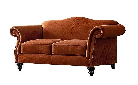 Acanva Mid Century Vintage Velvet Living Room Sofa, Loveseat, Tangerine
