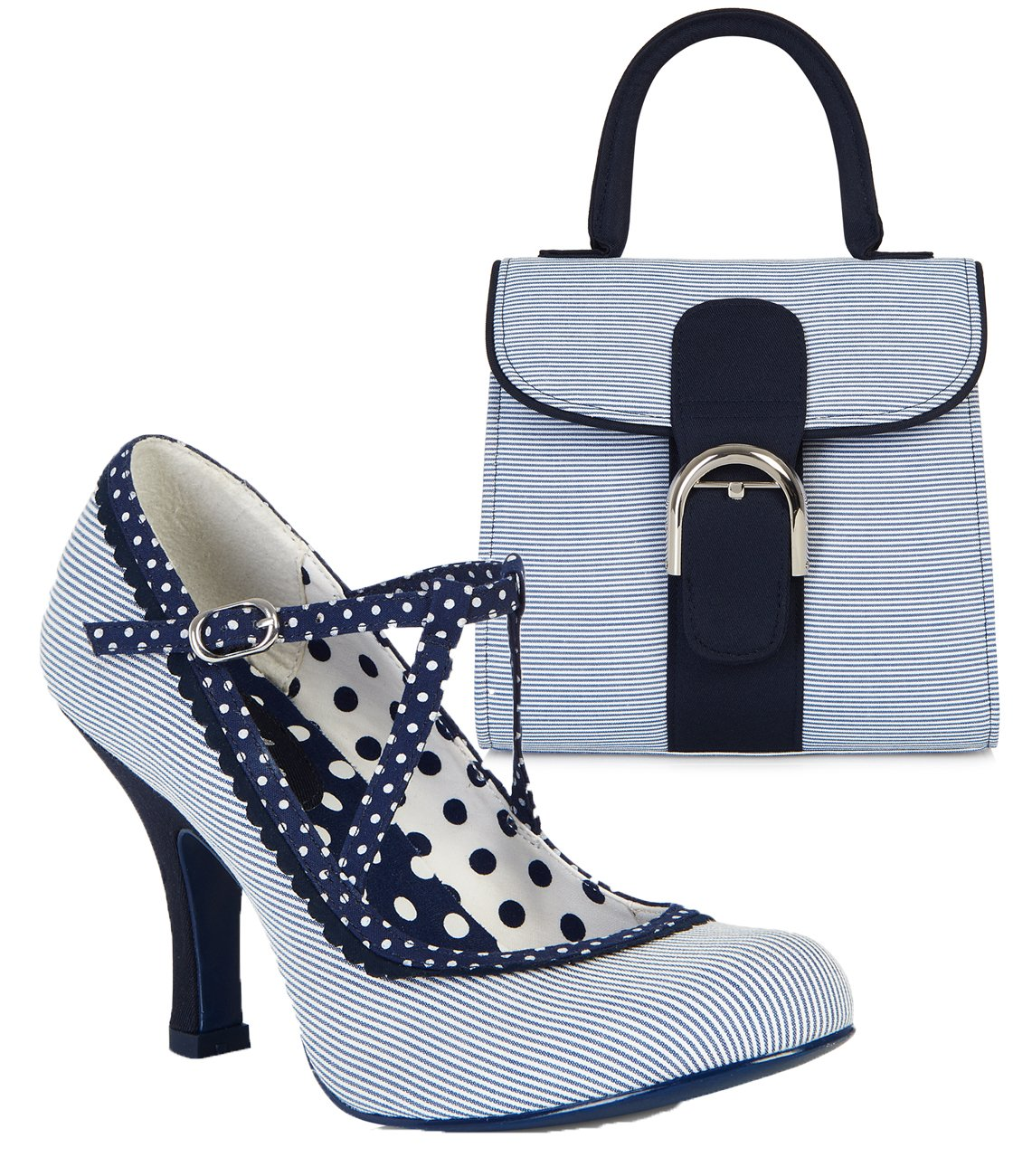 Ruby Shoo Women's Blue & White Stripe Jessica Mary Jane Pumps & Riva Bag UK 4 EU 37 by Ruby Shoo