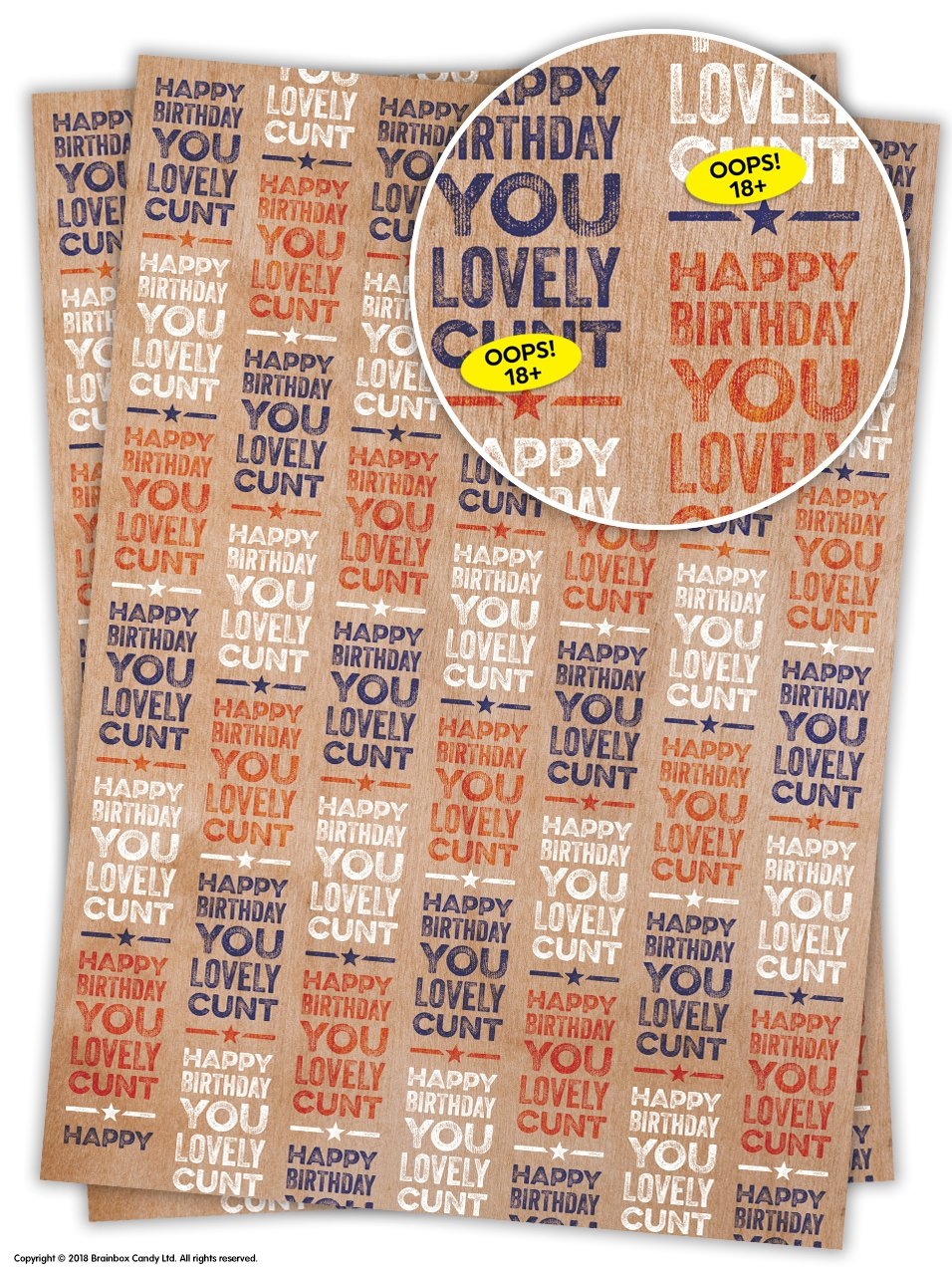 Funny Rude offensiva lovely C NT Birthday Gift Wrap 2 Sheets
