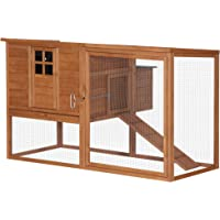 """PawHut 66"""" x44""""x40"""" Wooden Chicken Coop Rabbit Hutch Backyard Garden Poultry Hen House with Nesting Box and Outdoor Run"""
