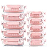 [10 Pack] Glass Meal Prep Containers, Food Storage Containers with Lids Airtight, Glass Lunch Boxes, Microwave, Oven, Freezer and Dishwasher Safe (Color: Pink)