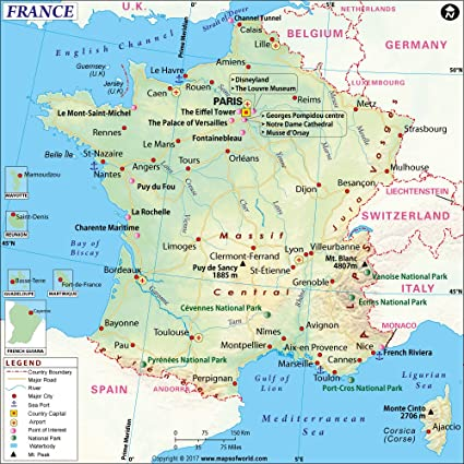 Amazoncom France Map Laminated 36 W x 36 H Office Products