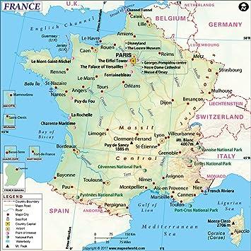 Amazon.com : France Map - Laminated (36\