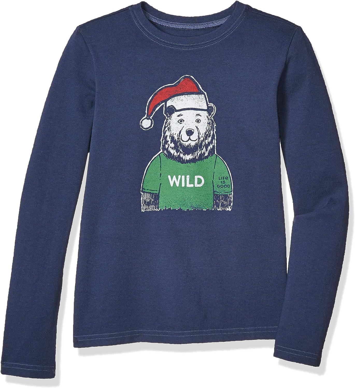 Life Is Good Boys Holiday Long Sleeve Crusher T-shirt Wild Santa Bear