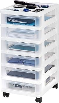 Iris 6-Drawer Rolling Storage Cart With Organizer Top