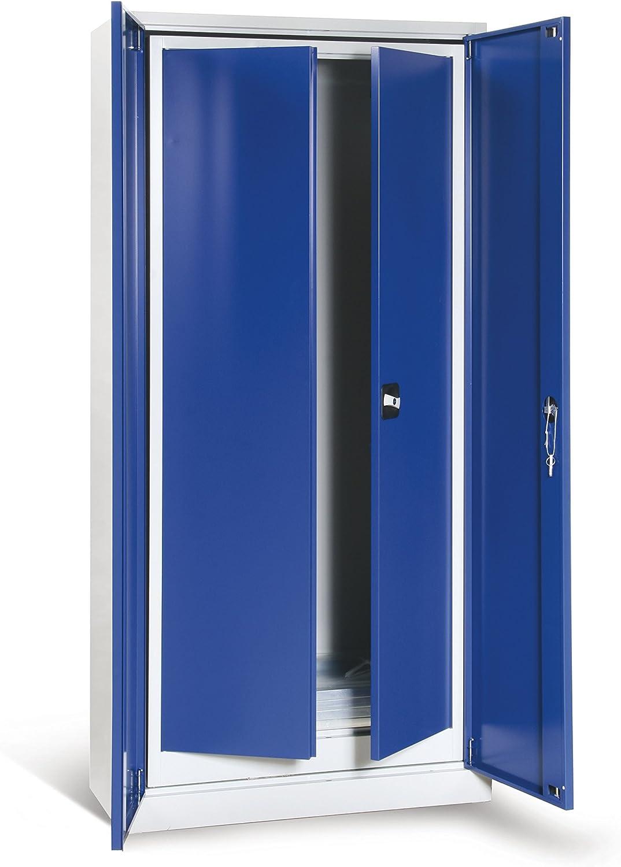 T/üren Enzianblau RAL 5010 je 4 verzinkte Fachb/öden Lichtgrau RAL 7035 1 gro/ßer Schrank und 1 kleiner Schrank Protaurus Werkzeugschrank Fl/ügelt/ürschr/änke SET