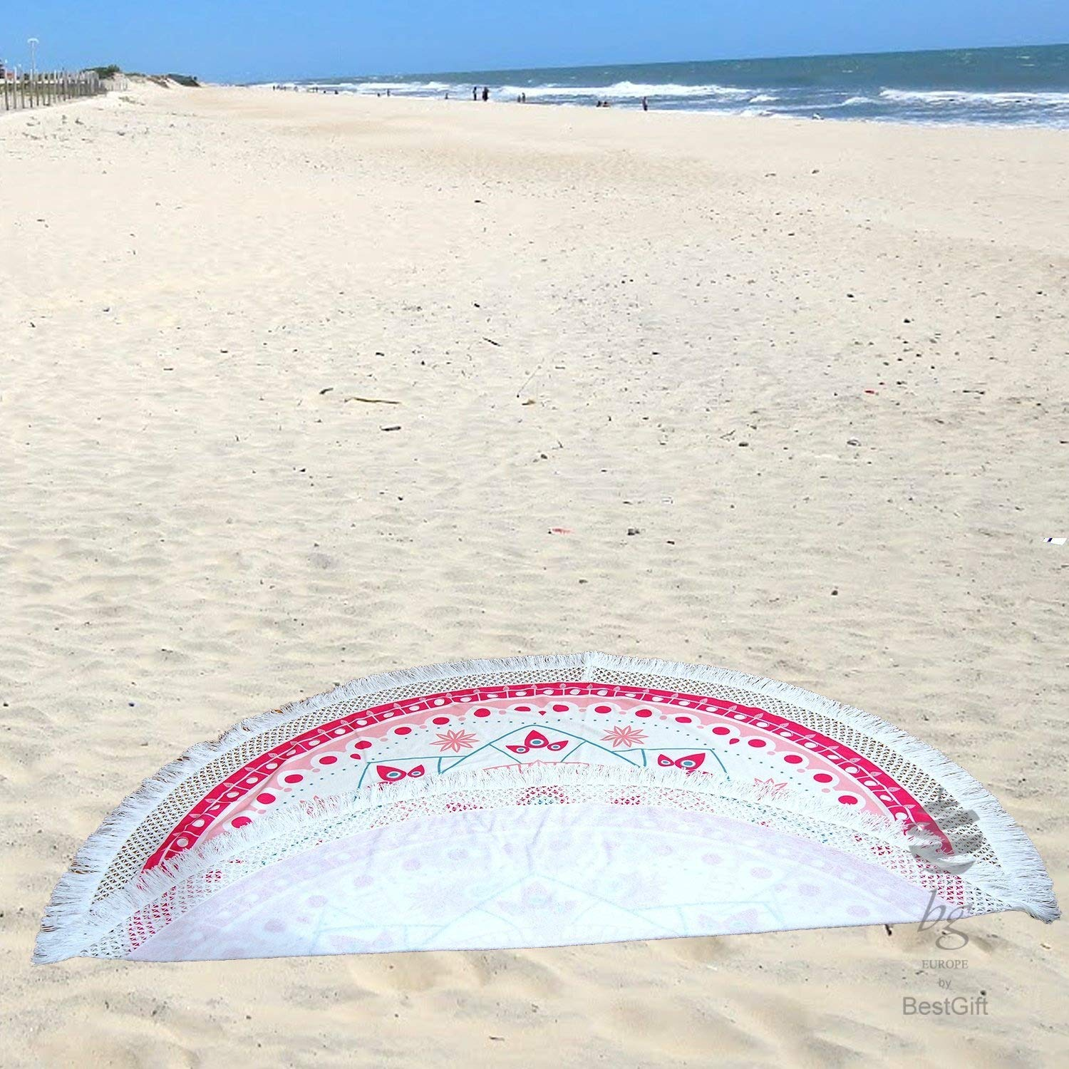 "Amazon.com: BgEurope Large Round Beach Towel Circle Rounded Towels 190CM - 74"" REF. Harmony - Fucsia: Home & Kitchen"