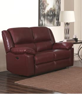 SC Furniture Ltd Burgundy Red High Grade Leather Manual Reclining 2 Seater  Recliner Sofa TOLEDO (