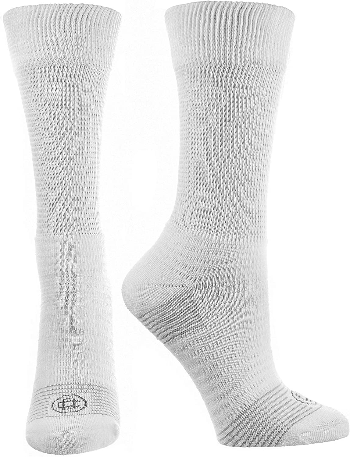 Doctor's Choice Men's Diabetic & Neuropathy Crew Socks, Non-Binding Cushion Crew Sock with Aloe, Antimicrobial, Ventilation, and Seamless Toe, 2-Pairs, White, Mens Large: Sock Size 10-13: Health & Personal Care
