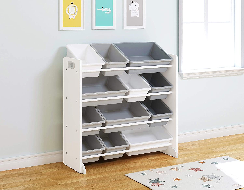 UTEX Kids' Toy Storage Organizer with 12 Plastic Bins, White