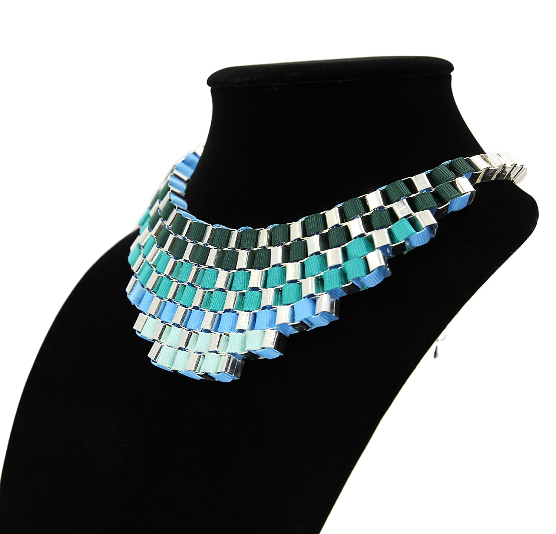 Damen Regenbogen Statement Kette Halskette mehrfarbig: Dunkeltürkis ...