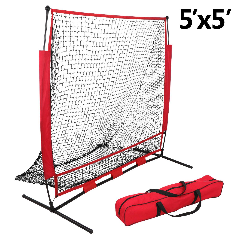 ZENY 5 5 Baseball Softball Practice Net Hitting Catching Pitching Training Net Tripod Batting Tee Stand Ball Caddy, Backstop Screen Equipment Training Aids Set