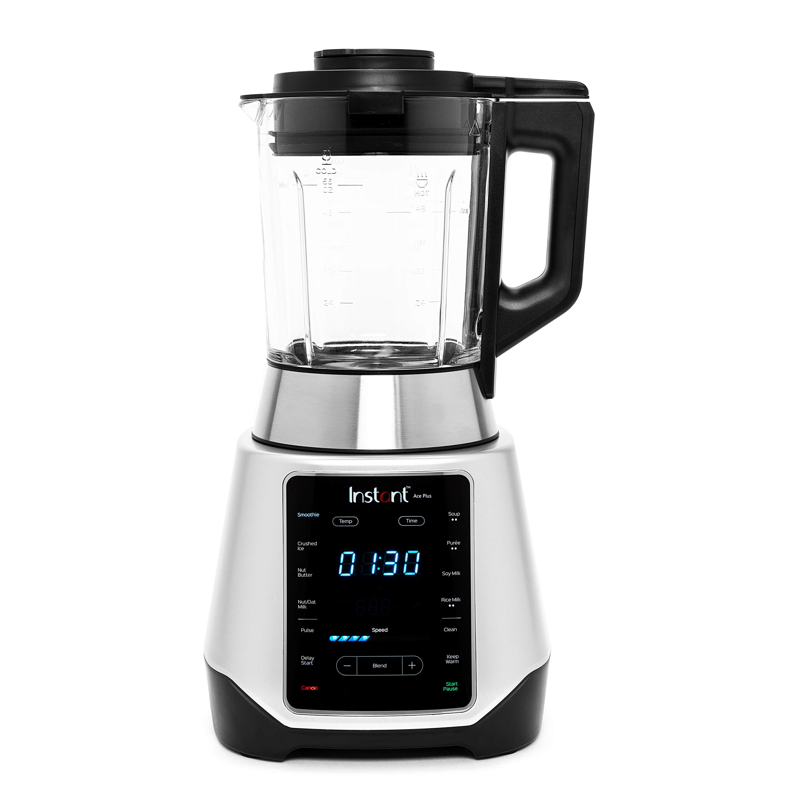 Instant Ace Plus Cooking & Beverage Blender Includes Professional Quality Glass Pitcher with Concealed Heating Element, 8 Stainless Steel Blades, 54 oz, 1300W, Silver & Black