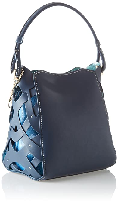 Dahlia Smooth Ecoleather/printed Canvas Hobo Bag, Womens Cross-Body Blue (Blue Navy), 30x31x19 cm (W x H L) Trussardi