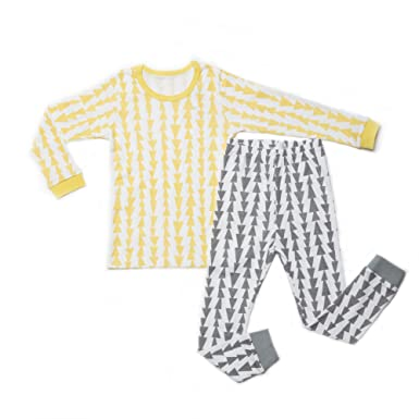 8f84a157d069 OllCHAENGi Little Boys Girls Kids Cotton Pajama Sleepwear Set Long Sleeve  18M-12Y Tree Yellow