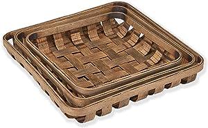 Barnyard Designs Tobacco Baskets Rustic Vintage Farmhouse Nesting Trays, Set of 3