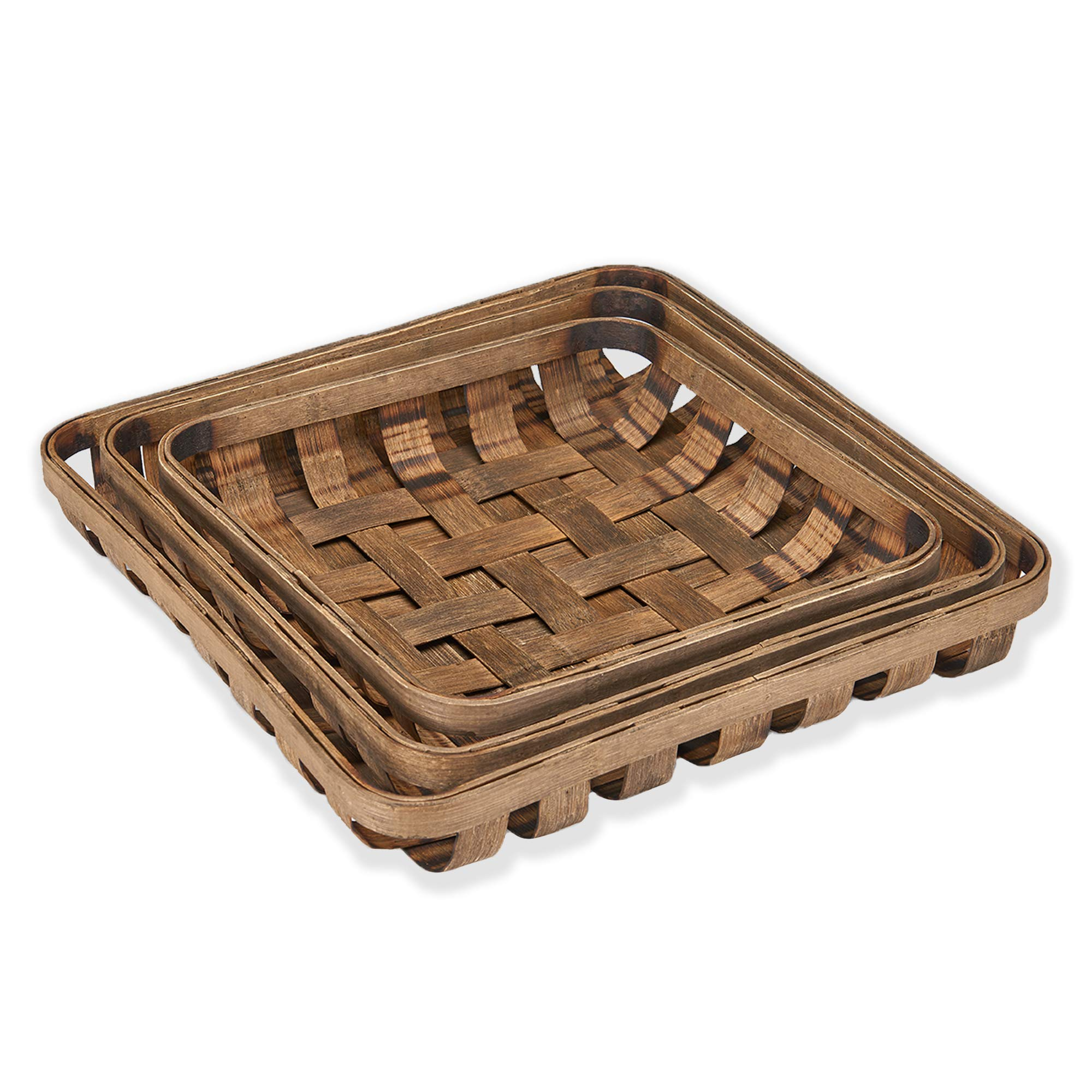 Barnyard Designs Tobacco Baskets Rustic Vintage Farmhouse Nesting Trays, Set of 3 by Barnyard Designs