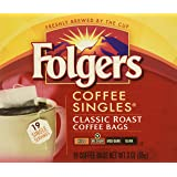 Folgers Coffee Singles Classic Roast-19 Coffee Bags (19 Bags Pack of 4-76 Bags), Red