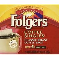 Folgers Coffee Singles Classic Roast-19 Coffee Bags (19 Bags Pack of 4-76 Bags)
