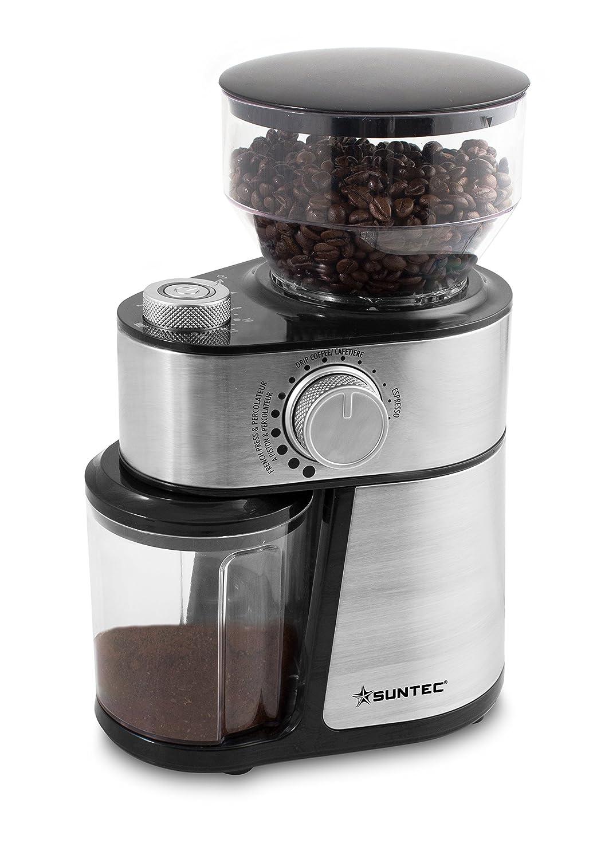 SUNTEC Moulin à café KML-8540 design pro [Entonnoir d'une capacité de 200g max. de café en grains, finesse de mouture + nombre de tasses réglables, récipient lavable en machine, max. 200W] max. 200W]