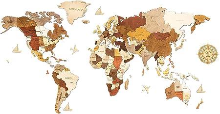 Mapa del Mundo de Madera Decoración de Pared - Multicapas, Multicolor, Madera, Nombres Grabados - Único Efecto 3D - Para Salón, Oficina y Dormitorio - XL (200 x 100 cm) - Viajero: Amazon.es: Amazon.es