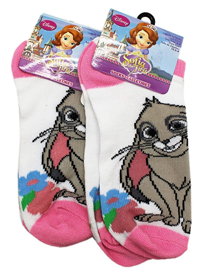 Amazon.com: Disneys Sofia the First Clover Rabbit Pink/White Sock Set (2 Pairs, Size 6-8): Clothing