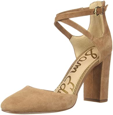 15d03b04146e9 Sam Edelman Women s Simmons Dark Golden Caramel Kid Suede Leather 7.5 M US