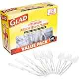 Glad Disposable Plastic Cutlery, Assorted Set | Clear Extra Heavy Duty forks, Knives, And Spoons | Disposable Party Utensils