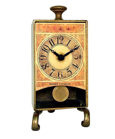 New Haven latón antiguo reloj de mesa con péndulo