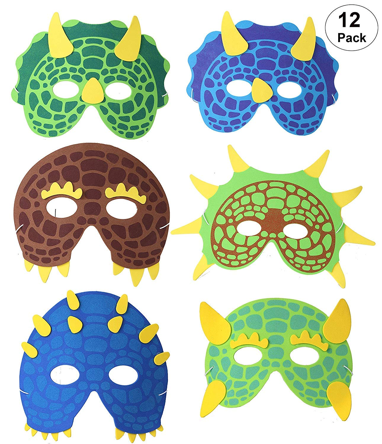 OOTSR Dinosaur Mask 12 Pack for Kids Foam Masks for Dinosaur Birthday Party Supplies Halloween Party Favors with Elastic Strap
