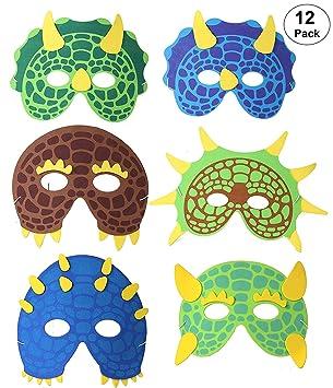 OOTSR 12 Piezas Máscaras de Dinosaurio para niños, máscaras de Espuma Suministros de Fiesta de Dinosaurio para Juegos de rol Fiesta de cumpleaños ...
