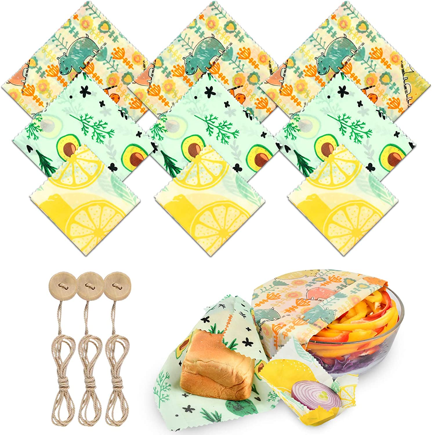 Knendet Reusable Beeswax Wrap, 9 Packs Eco-friendly Organic Beeswax Food Wrap - 3 Small, 3 Medium, 3 Large, Food Wrap with Sealing Ropes, Plastic Free Alternative Food Storage Bread Sandwich Wrapping
