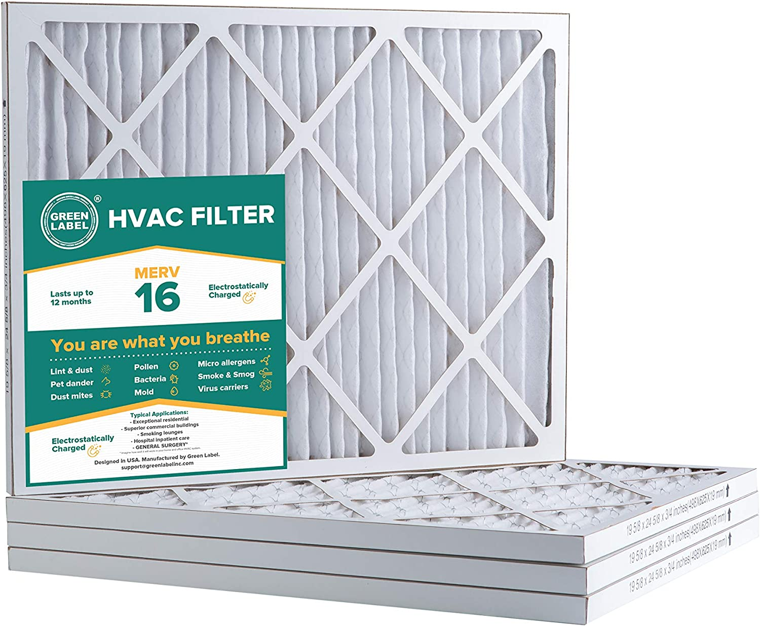 AC Furnace Air Ultra Cleaning Filter MERV 16 Green Label HVAC Air Filter 20x25x1 Pack of 4