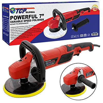 "TCP Global 7"" Professional High Performance Variable Speed Polisher with a Powerful 12 Amp, 1200 Watt Motor - Buff, Polish & Detail Car Auto Paint: Automotive"
