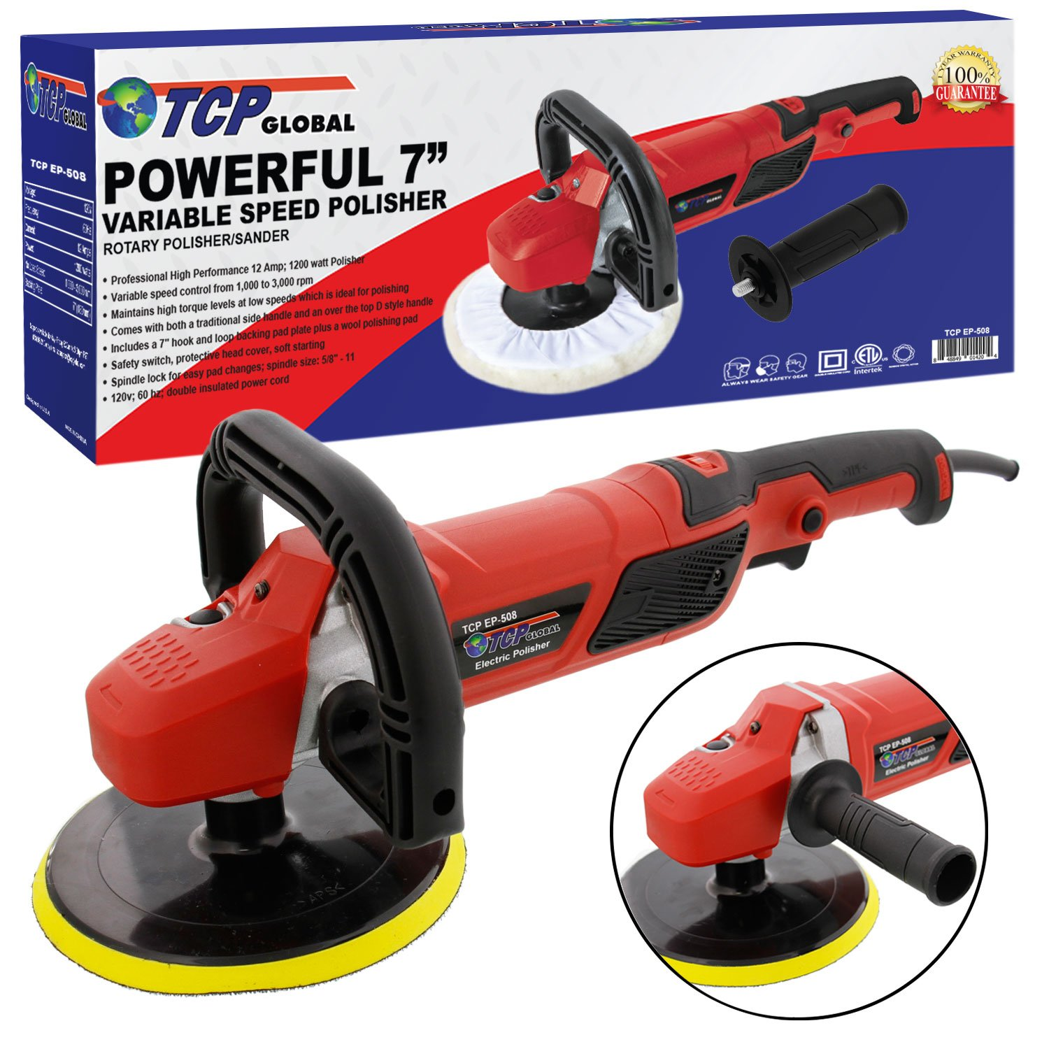 TCP Global 7'' Professional High Performance Variable Speed Polisher with a Powerful 12 Amp, 1200 Watt Motor - Buff, Polish & Detail Car Auto Paint