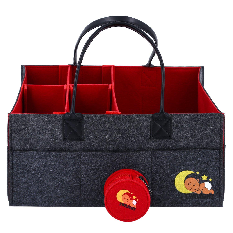 Baby Diaper Caddy Organizer| Nursery Diaper Tote Bag | Baby Shower Gift Baskets | Large Portable Car Travel Organizer | Newborn Registry Must Haves | Boy Girl Diaper Storage Bin | Free Pacifier Gift |