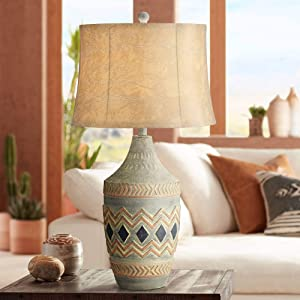 Desert Valley Rustic Southwestern Style Table Lamp Gray Pattern Jar Faux Leather Shade Decor for Living Room Bedroom House Bedside Nightstand Home Office Entryway Reading Family - John Timberland