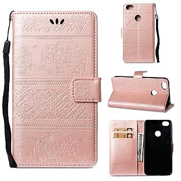Caselover Funda Xiaomi Redmi Note 5A, Piel Libro Cuero Elefante Impresión Carcasa para Redmi Note 5A TPU Silicona Case Cover Interna Suave Flip Folio ...