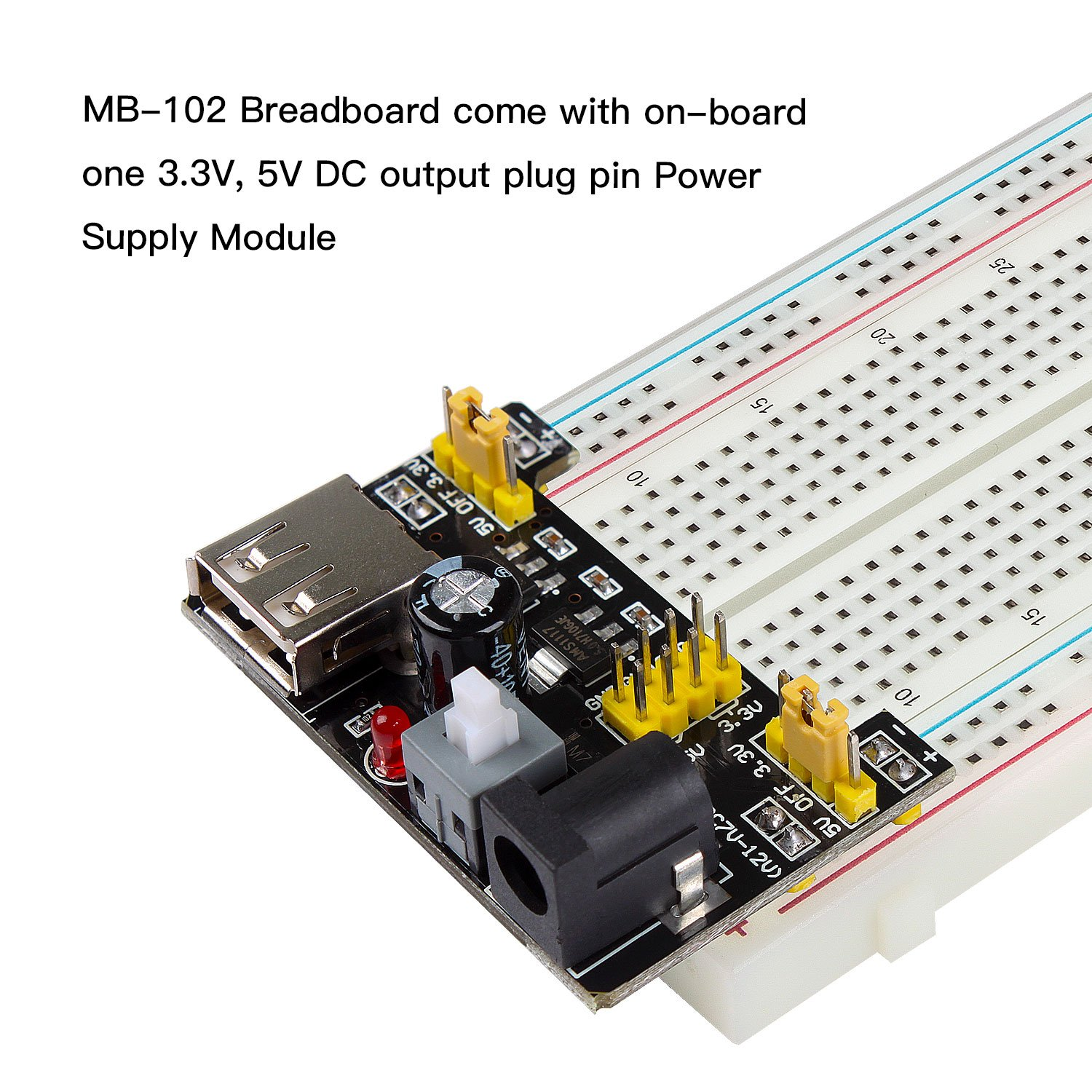 Smraza 33v 5v Power Supply Module For Arduino 830 Tie 12 Fixing The Breadboard On Site Points Solderless 65pcs Jumper Wire Uno Mega2560 Computers