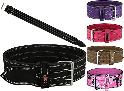 MRX Powerlifting Leather Belt 4 Wide 10mm Thickness Training Fitness Back Support Bodybuilding Belts with Steel 2 Prong Buckle