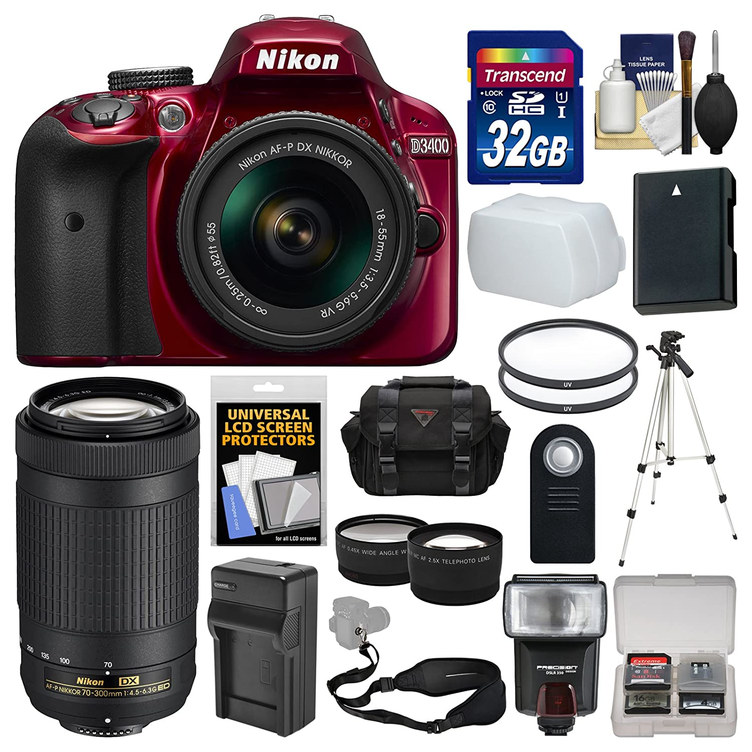 Nikon D3400 Digital SLR Camera & 18-55mm VR (Red) & 70-300mm DX AF-P Lenses with 32GB Card + Case + Flash + Battery & Charger + Tripod + Tele/Wide Lens Kit