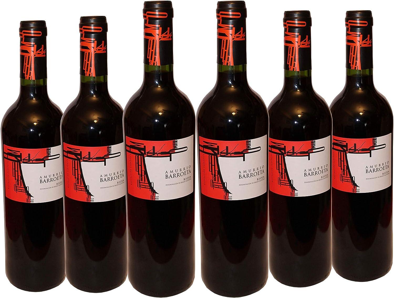 Vino Tinto Joven Rioja - Elaborado 90% Tempranillo (Amurrio Barroeta Joven, Caja 6 Botellas)