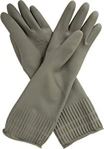 Mamison Reusable Waterproof Household Dishwashing Cleaning Rubber Gloves, Non-Slip Kitchen Glove (Gray, Large)