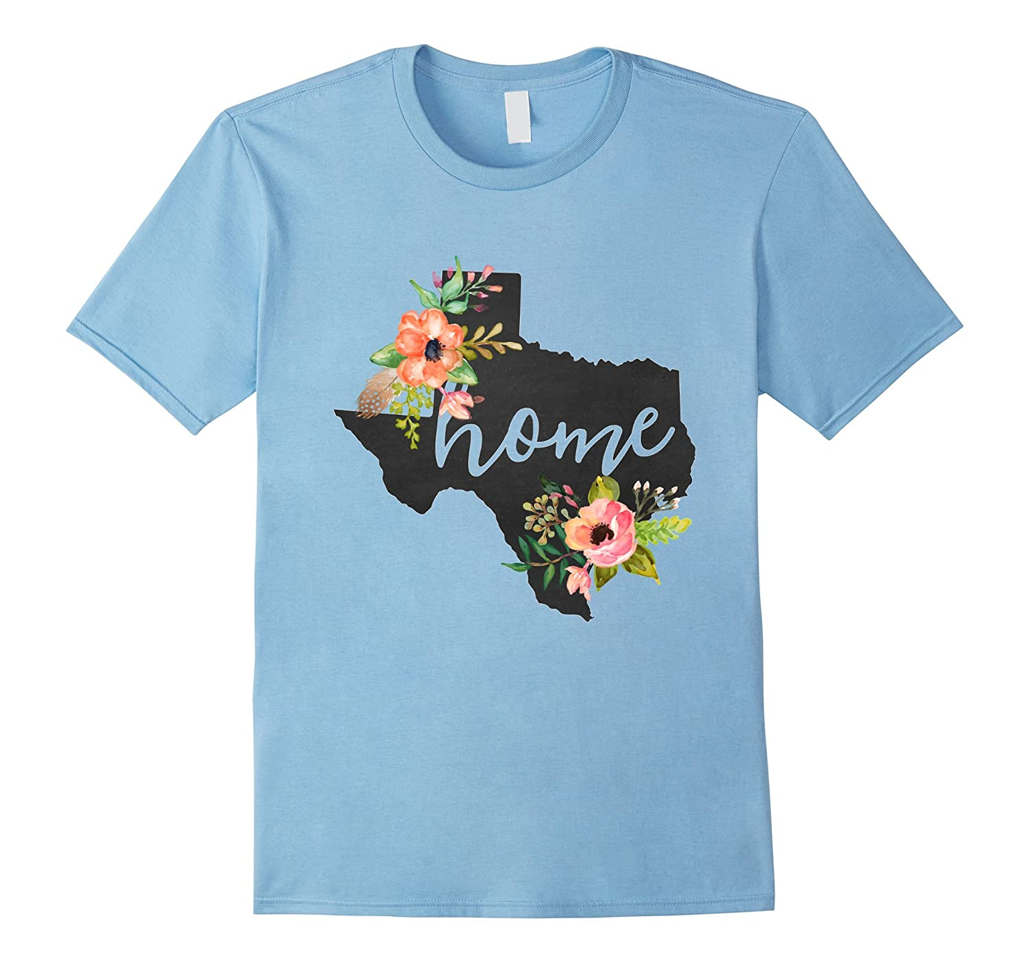 texas home chalkboard watercolor flowers state t shirt cool t