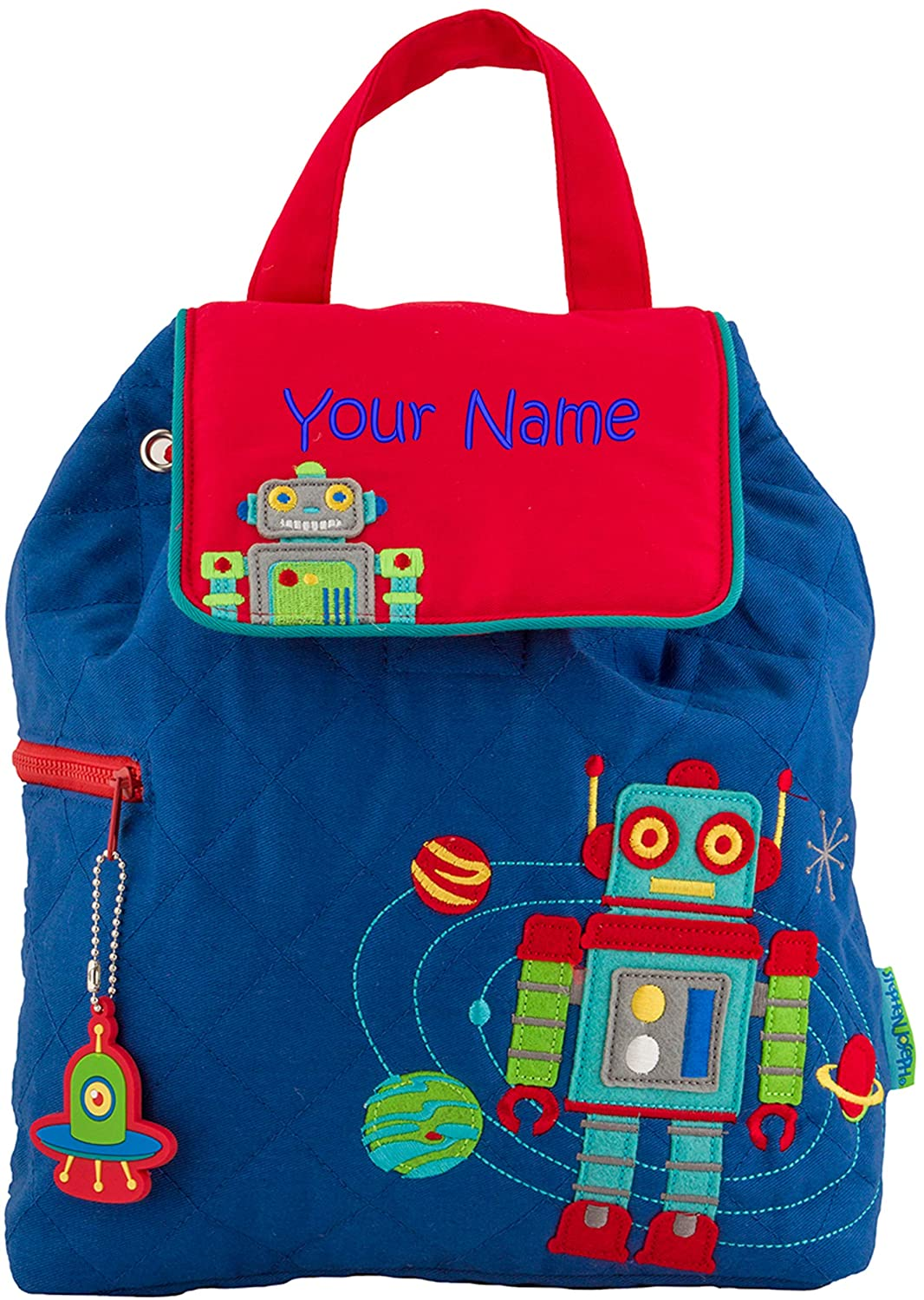 dfcc968f3f42 Personalized Stephen Joseph Robot Quilted Backpack with Embroidered Name