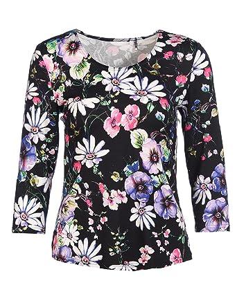 promo code 444f3 61d9a STEILMANN Damen Shirt mit Biesen Langarm, T-Shirt, Frauen, Gemustert mit  Blumen