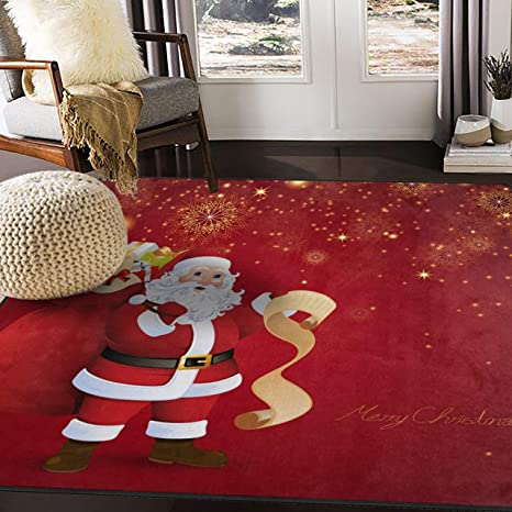 Alaza Firework Christmas Santa Claus Area Rug Rugs For Living Room Bedroom 7 X 5 Home Kitchen