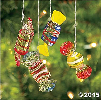 12 Glass Hard Candy Holiday Christmas Ornaments Candies Dozen Decor